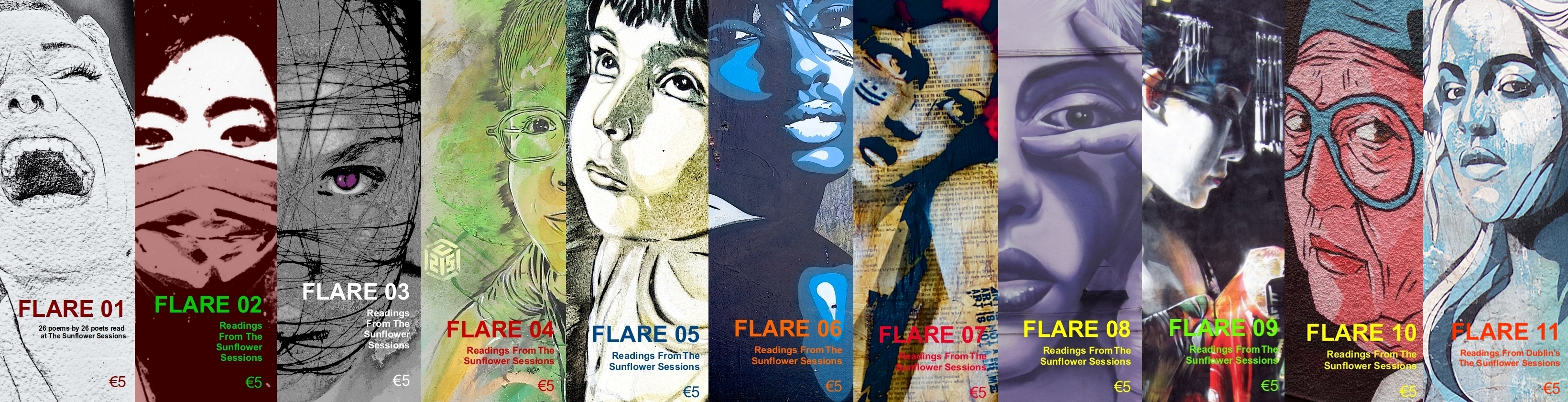 a composite photo of the first eleven issues of FLARE