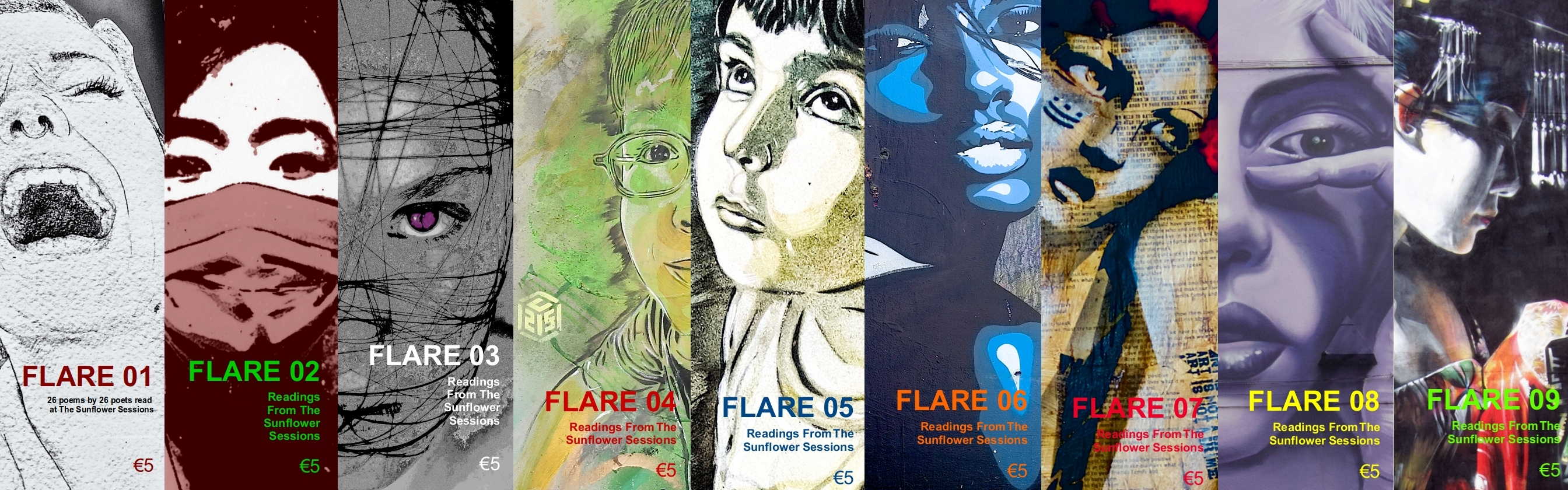 a composite photo of the first nine issues of FLARE