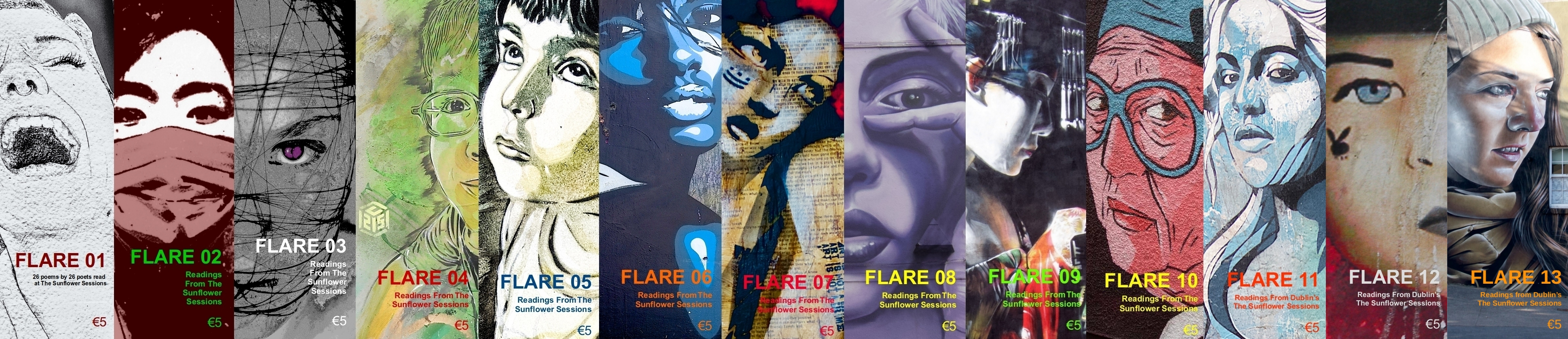 a composite photo of the first twelve issues of FLARE