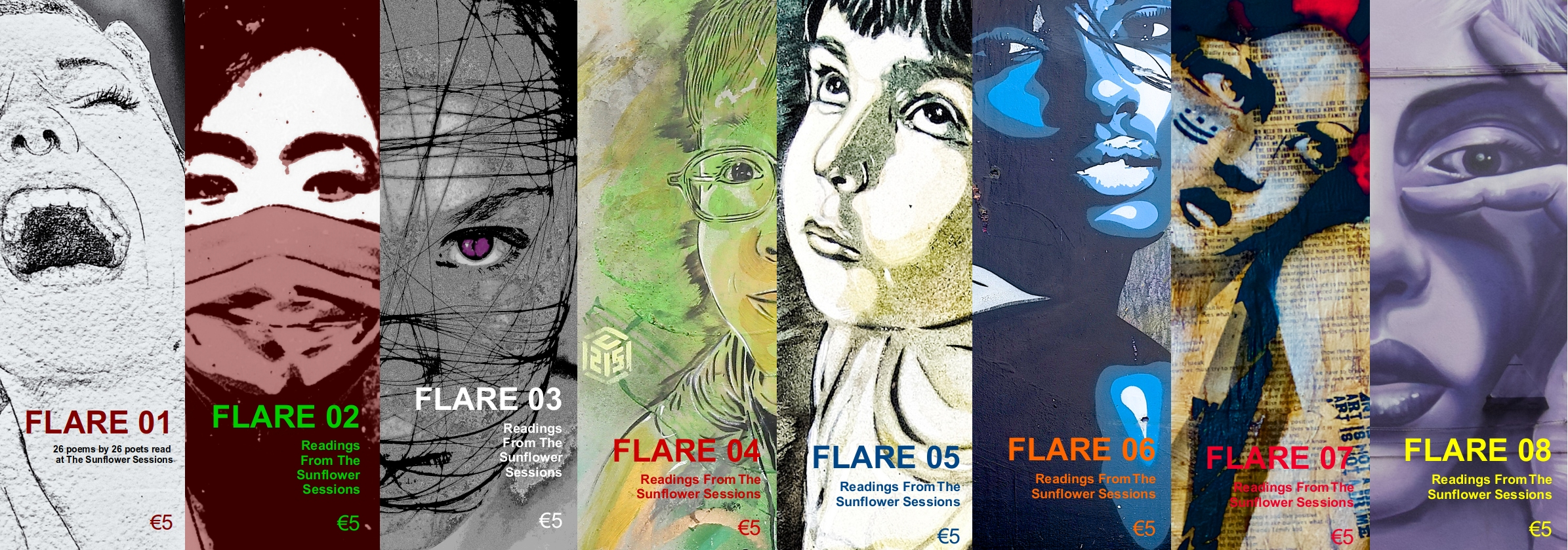 Covers of FLARE 01 to 08. The cover images show details from various street murals.